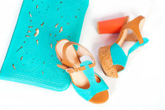 Summer beautiful high heels and handbag Stock Photo