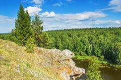Summer Beautiful landscape. The Chusovaya River Royalty Free Stock Photo