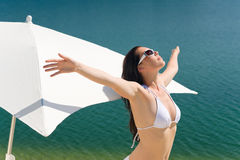 Summer beautiful woman in white bikini bra Royalty Free Stock Photo