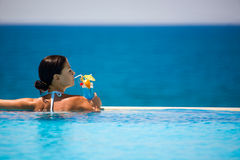 Summer Beauty. Beautiful woman relaxing in the pool Royalty Free Stock Images