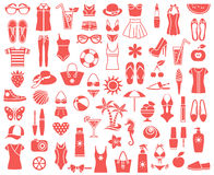 497_Summer beauty and fashion. Big set of vector icons for summer fashion, beauty and relaxation Stock Image