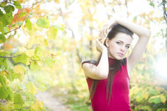 Summer beauty girl portrait. Portrait of beautiful young girl on nature Royalty Free Stock Image