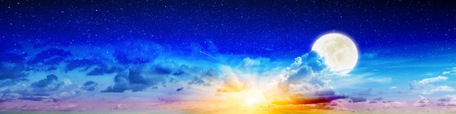 Summer beauty night sky and moon Royalty Free Stock Images