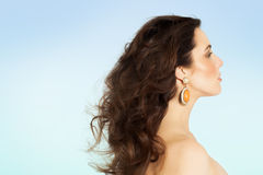 Summer Beauty. Side view of a woman with long hair on blue background Stock Photography