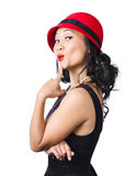 Summer beauty wearing red vintage hat Royalty Free Stock Photography