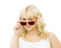 Summer beauty - woman wearing red sunglasses Royalty Free Stock Photos