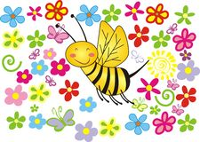 Summer bee. Summer spring flowers bee graphic illustration Royalty Free Stock Image