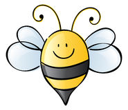 Summer Bee Here. Cute little striped smiling bumblebee stock illustration