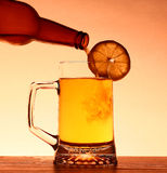 Summer Beer with lemon Stock Photos