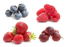 Summer berries. On a white background: strawberries, raspberries, gooseberries, blueberries Royalty Free Stock Photos