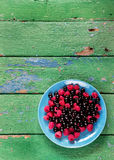 Summer berries on blue plate. Royalty Free Stock Photo