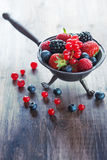 Summer berries in bowl Royalty Free Stock Photos