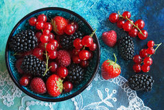 Summer berries in bowl Royalty Free Stock Photography