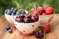 Summer berries in bowls Stock Photo