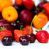 Summer Berries and Fruits cherries, strawberries, plums, apricot Royalty Free Stock Photography