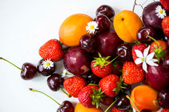 Summer Berries and Fruits cherries, strawberries, plums, apricot Royalty Free Stock Photo