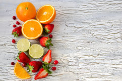 Summer berries and fruits copy space wooden background Royalty Free Stock Photo