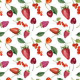 Summer berries and fruits watercolor food seamless pattern. Watercolor strawberry, cherry, redcurrant, raspberry and stock illustration