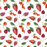 Summer berries and fruits watercolor food seamless pattern. Watercolor strawberry, cherry, redcurrant, raspberry and leaves isolat Royalty Free Stock Image