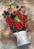 Summer berries on metal background. Royalty Free Stock Images