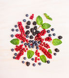Summer berries and mint leaves composing  on white wooden background Stock Photography