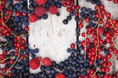 Summer berries on planks. Red and blue summer berries on old wooden planks, bluebeery, red and black currant Royalty Free Stock Images