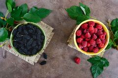 Summer berries: ripe black mulberry and juicy raspberries in bowls. Scattered leaves on a vintage background. Harvest from the garden. Top view Royalty Free Stock Image