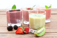 Summer berries smoothie with mint Royalty Free Stock Photos