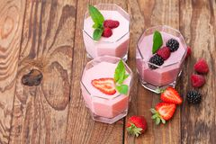Summer berries smoothie with mint Royalty Free Stock Images
