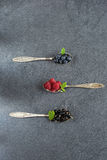 Summer berries in spoons on grey background. Raspberries, currants and blueberries in spoons on grey background. Selective focus stock images