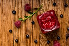 Summer berries on wooden background. Raspberry, blackcurrant, red currant. Summer berries on wooden background. Raspberry, blackcurrant, red currant royalty free stock images