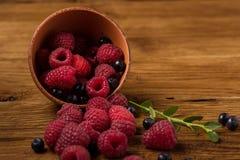 Summer berries on wooden background. Raspberry, blackcurrant, red currant. Summer berries on wooden background. Raspberry, blackcurrant, red currant stock photo