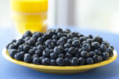 Summer berries on yellow plate. Blueberry is very useful and Royalty Free Stock Images