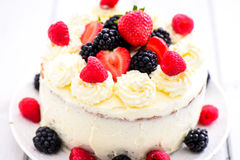 Summer berry angel cake Royalty Free Stock Image