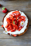 Summer berry cake, top view. Food closeup royalty free stock images