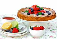 Summer berry fruit cake, festive tea party Stock Photos