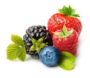 Summer berry fruits. Berries. Raspberry, Strawberry, Blueberry, Blackberry Isolated on White Background Royalty Free Stock Photo
