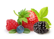 Summer berry fruits. Berries. Raspberry, Strawberry, Blueberry and Blackberry Isolated on White Background Royalty Free Stock Images