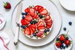 Summer Berry No Bake Cheesecake stock photo