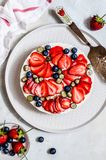 Summer Berry No Bake Cheesecake. Summer Strawberry and Blueberry No Bake Cheesecake, copy space for your text stock images