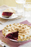 Summer Berry Pie with a Slice Removed Stock Images