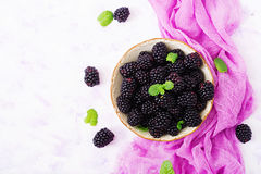 Healthy lifestyle concept, blackberries in bowl. Summer berry on table. Healthy lifestyle concept, blackberries in bowl. Flat lay. Top view Royalty Free Stock Photography