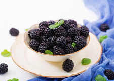 Healthy lifestyle concept, blackberries in bowl. Summer berry on table. Healthy lifestyle concept, blackberries in bowl Stock Image