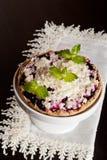 Summer berry tart with custard cream. close up, vertical Stock Images