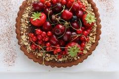 Summer berry tart on white Royalty Free Stock Photo