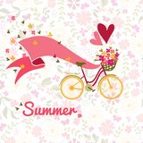 Summer, bicycle and flowers background Royalty Free Stock Photo