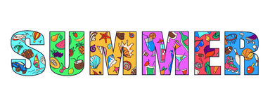 SUMMER. Big colorful letters with pictures inside on a summer theme and summer activities stock illustration