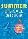 Summer big discount. Shark around a fat man on mattress Stock Photos