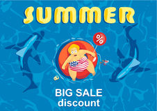Summer big discount. Shark around a fat man on mattress Royalty Free Stock Images