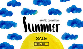 Summer big discount. Special offer for the summer. Sun in the clouds. Watercolor background. Vector. Illustration stock illustration